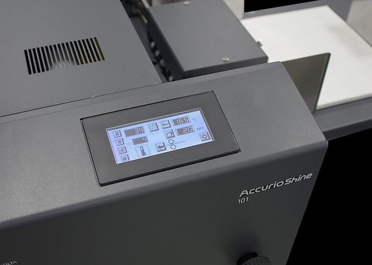 AccurioShine 101 UI desk top coater system view