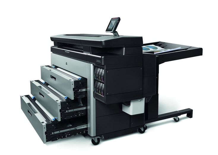 HP PageWide XL 8000 product view with draws open